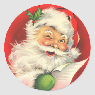 Santa Claus with a Wink Classic Round Sticker