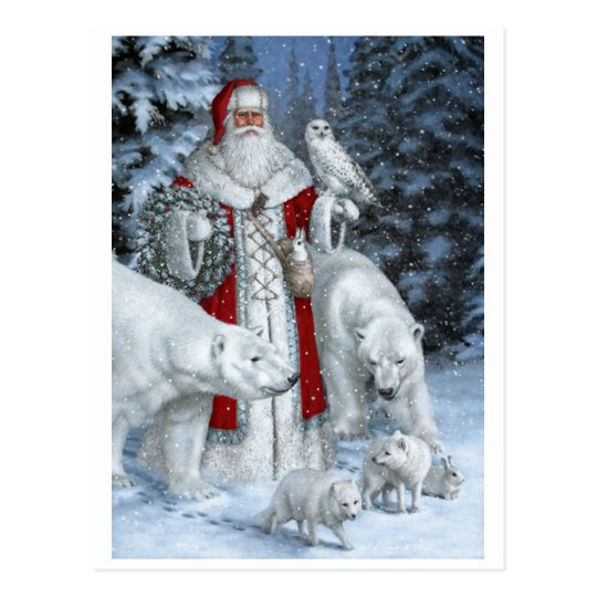 Santa Claus With An Owl And Polar Bears