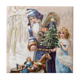 Santa Claus with Angel Small Square Tile