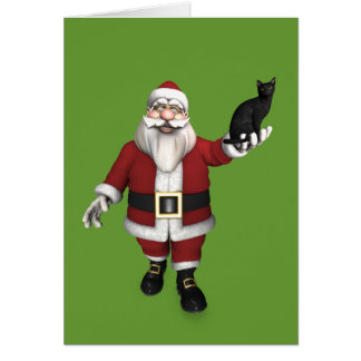 Santa Claus With Black Cat Cards