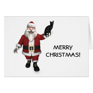 Santa Claus With Black Cat Greeting Card