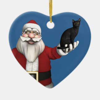 Santa Claus With Black Cat Christmas Ornament