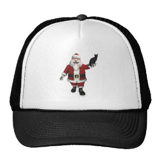 Santa Claus With Black Cat Mesh Hats