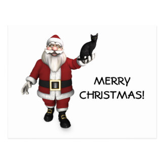 Santa Claus With Black Cat Post Card