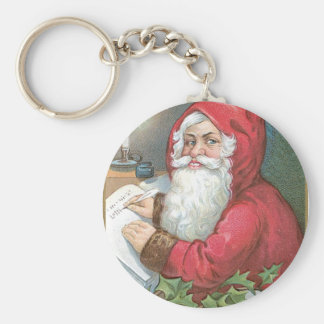 Santa Claus with Blue Eyes Basic Round Button Key Ring