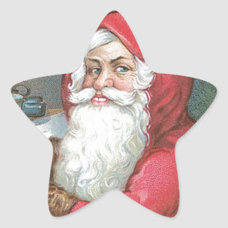 Santa Claus with Blue Eyes Star Sticker