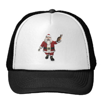 Santa Claus With Calico Cat Trucker Hat