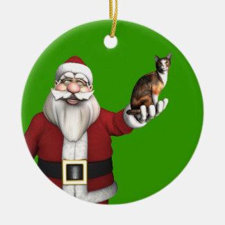 Santa Claus With Calico Cat Round Ceramic Decoration