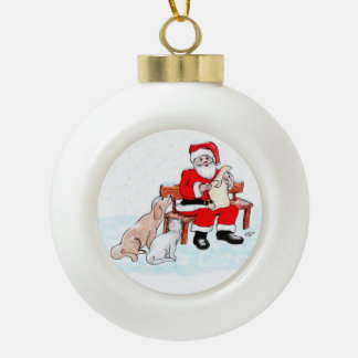 Santa Claus with Cat and Dog Ceramic Ball Decoration