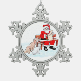 Santa Claus with Cat and Dog Snowflake Pewter Christmas Ornament