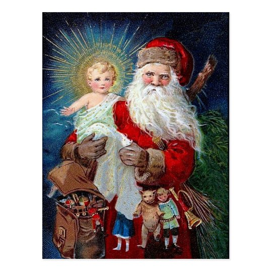 Santa Claus with Christ Child Postcard