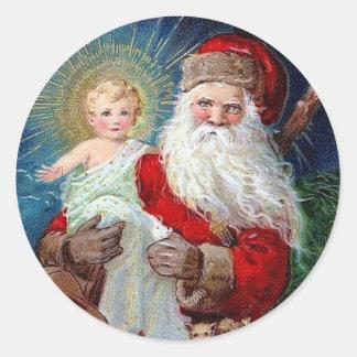 Santa Claus with Christ Child Round Sticker