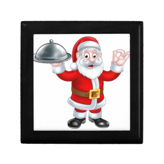 Santa Claus with Christmas Food Plate Small Square Gift Box