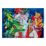 SANTA  CLAUS WITH CHRISTMAS TREE AND GIFTS GREETING CARDS