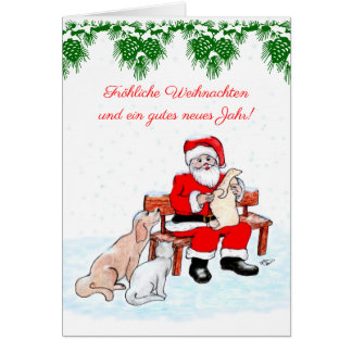 Santa Claus with dog and cat Card