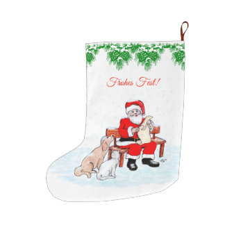 Santa Claus with dog and cat Large Christmas Stocking