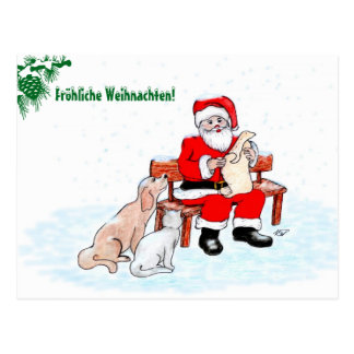 Santa Claus with dog and cat Postcard