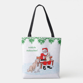 Santa Claus with dog and cat Tote Bag