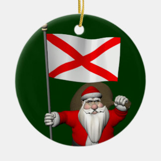 Santa Claus With Ensign Of Alabama Christmas Ornament