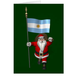 Santa Claus With Ensign Of Argentina Greeting Card