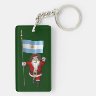 Santa Claus With Ensign Of Argentina Double-Sided Rectangular Acrylic Keychain