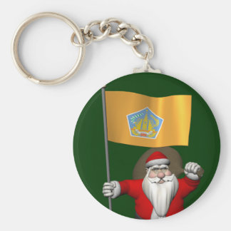 Santa Claus With Ensign Of Bali Basic Round Button Key Ring