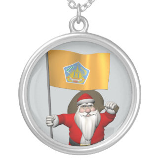 Santa Claus With Ensign Of Bali Round Pendant Necklace