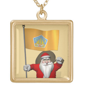 Santa Claus With Ensign Of Bali Square Pendant Necklace