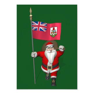 Santa Claus With Ensign Of Bermuda 13 Cm X 18 Cm Invitation Card