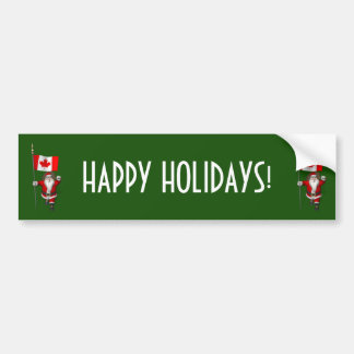 Santa Claus With Ensign Of Canada Bumper Sticker