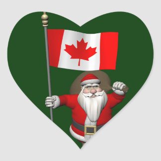 Santa Claus With Ensign Of Canada Heart Sticker