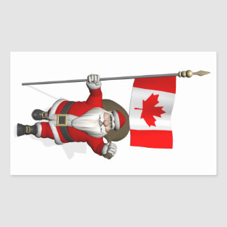 Santa Claus With Ensign Of Canada Rectangular Sticker