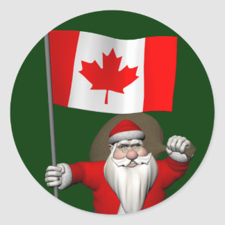 Santa Claus With Ensign Of Canada Round Sticker
