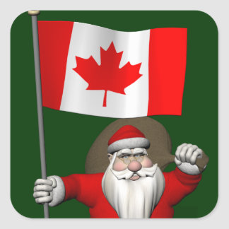 Santa Claus With Ensign Of Canada Square Sticker