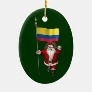 Santa Claus With Ensign Of Colombia Ceramic Oval Decoration