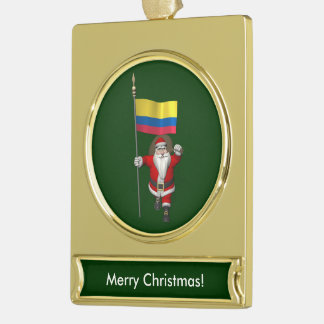 Santa Claus With Ensign Of Colombia Gold Plated Banner Ornament
