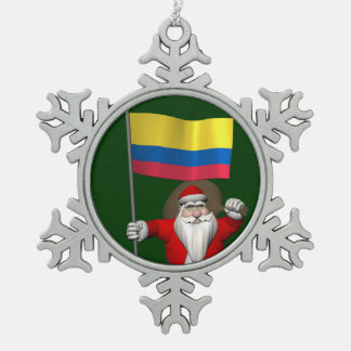 Santa Claus With Ensign Of Colombia Pewter Snowflake Decoration