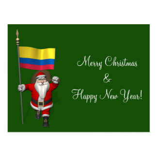Santa Claus With Ensign Of Colombia Postcard