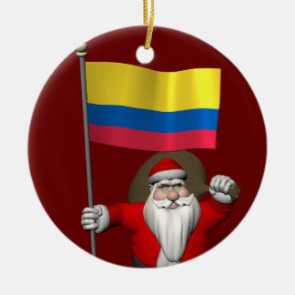 Santa Claus With Ensign Of Colombia Round Ceramic Decoration