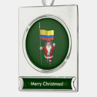 Santa Claus With Ensign Of Colombia Silver Plated Banner Ornament