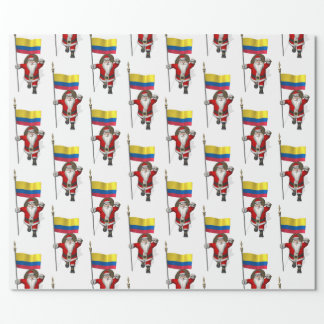 Santa Claus With Ensign Of Colombia Wrapping Paper