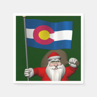 Santa Claus With Ensign Of Colorado Paper Napkin