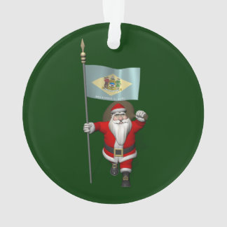 Santa Claus With Ensign Of Delaware Ornament