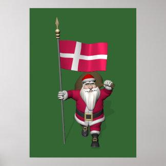 Santa Claus With Ensign Of Denmark Dannebrog Poster