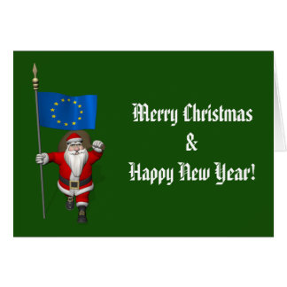 Santa Claus With Ensign Of European Union Card