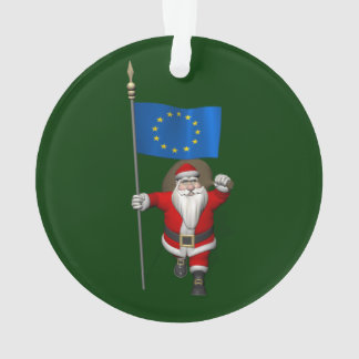 Santa Claus With Ensign Of European Union Ornament