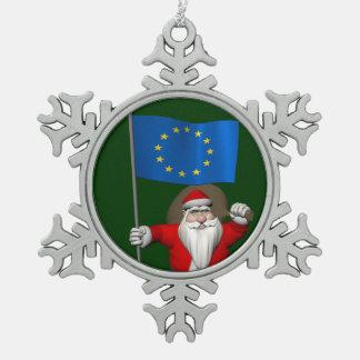 Santa Claus With Ensign Of European Union Snowflake Pewter Christmas Ornament