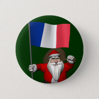 Santa Claus With Ensign Of France 6 Cm Round Badge