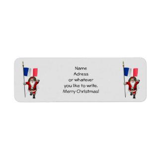 Santa Claus With Ensign Of France Return Address Label