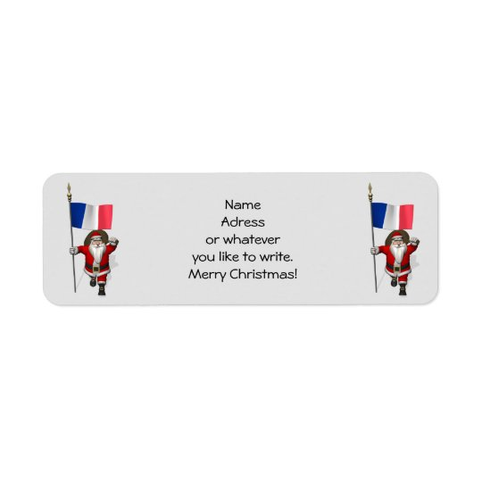 Santa Claus With Ensign Of France Return Address Label